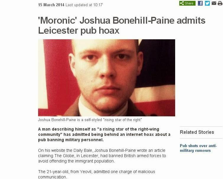 Moronic Joshua Bonehill admits Leicester pub hoax