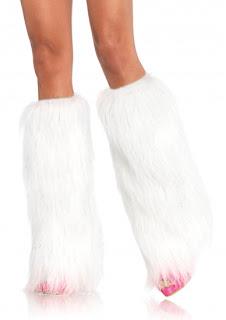 white Furry Legwarmers