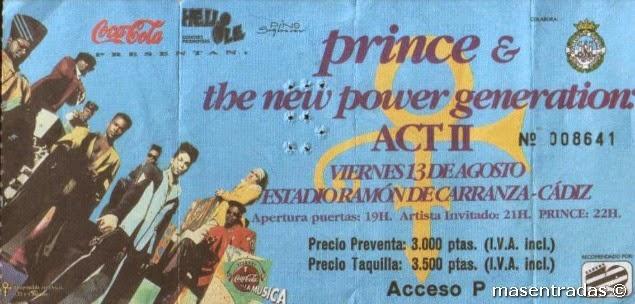 entrada de concierto de prince