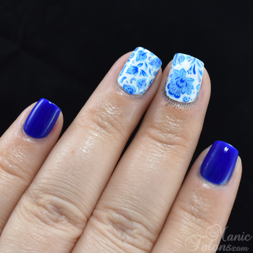 Blue and White China Nails with KBShimmer Water Slide Decals