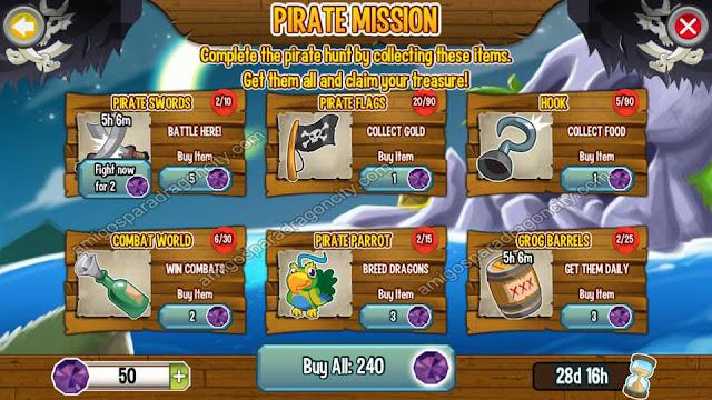imagen de las tareas de la isla pirata de dragon city para iphone