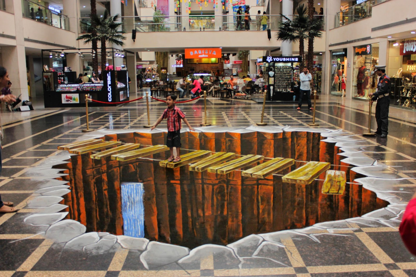 3d street painting india an illusion at shipra mall for 3d mural art in india