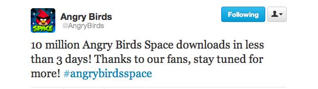 angry birds space 10 milhões de downloads