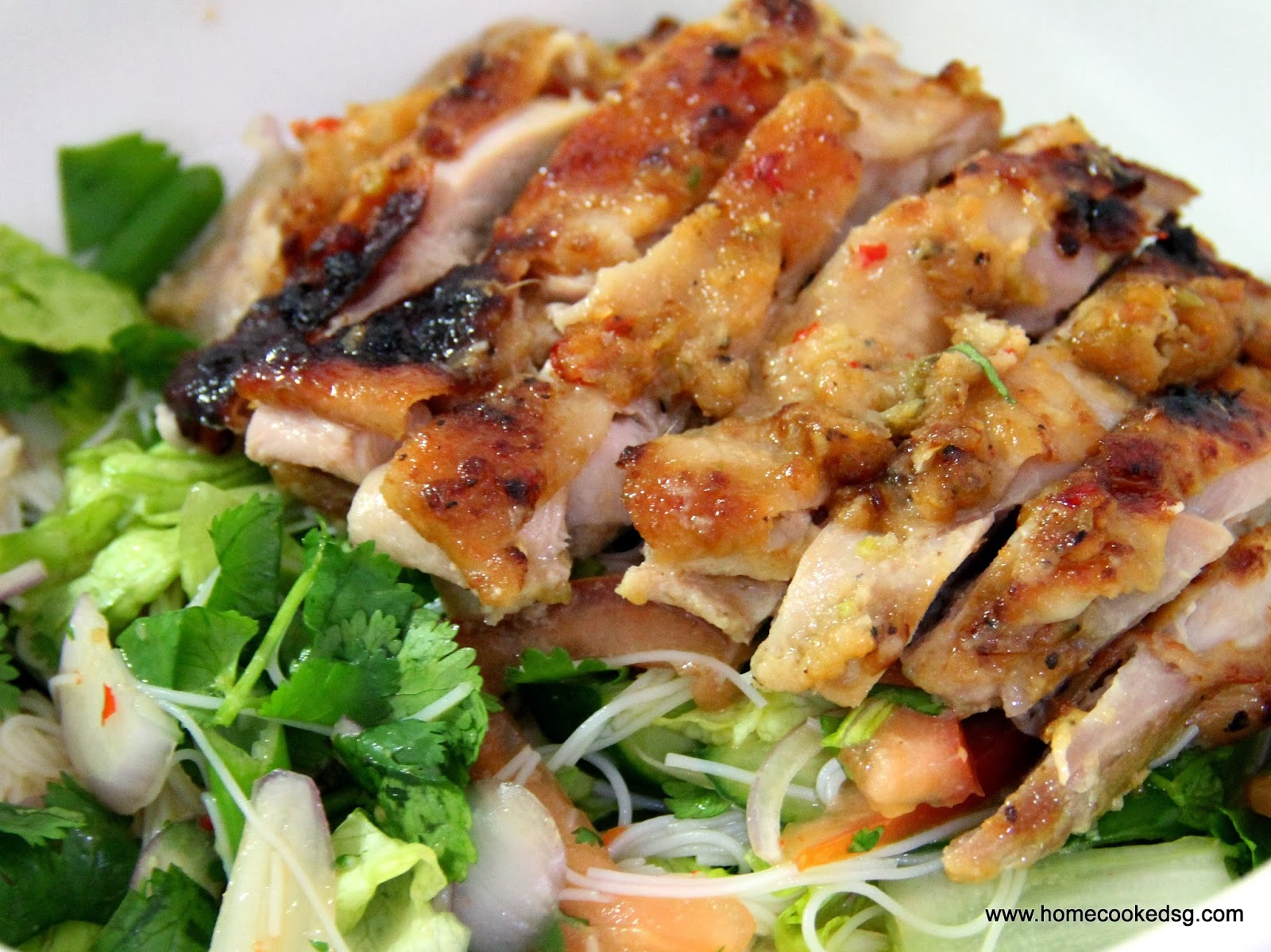 Home Cooked SG: Spicy Thai Style Chicken Salad