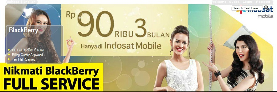Indosat BlackBerry Full Service Rp 90 Ribu Untuk 3 Bulan
