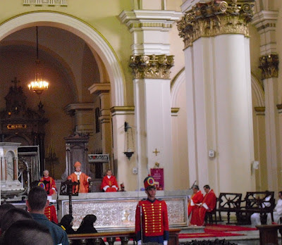 The Archbishop of Bogotá, Jesús Rubén Salazar Gómez, looking all powerful seated on his 'throne' during Good Friday ceremonies at the main Cathedral in the Colombian capital