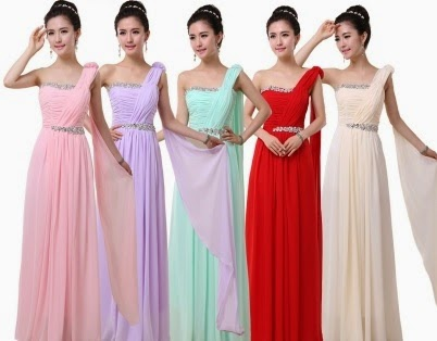 Double-Line Diamond-Beaded Waist One Shoulder Greek Bridesmaid/Evening Maxi Dress