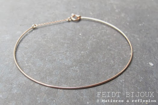 bracelet fin or rose feidt bijoux mati res r flexion paris. Black Bedroom Furniture Sets. Home Design Ideas
