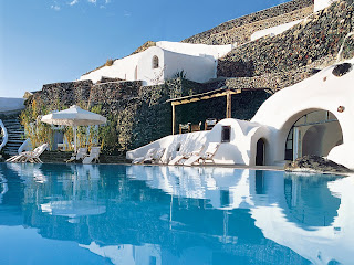 Greek islands Santorini swiming pool with view
