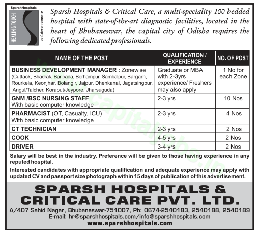 jobs in sparsh hospitals  u0026 critical care private limited