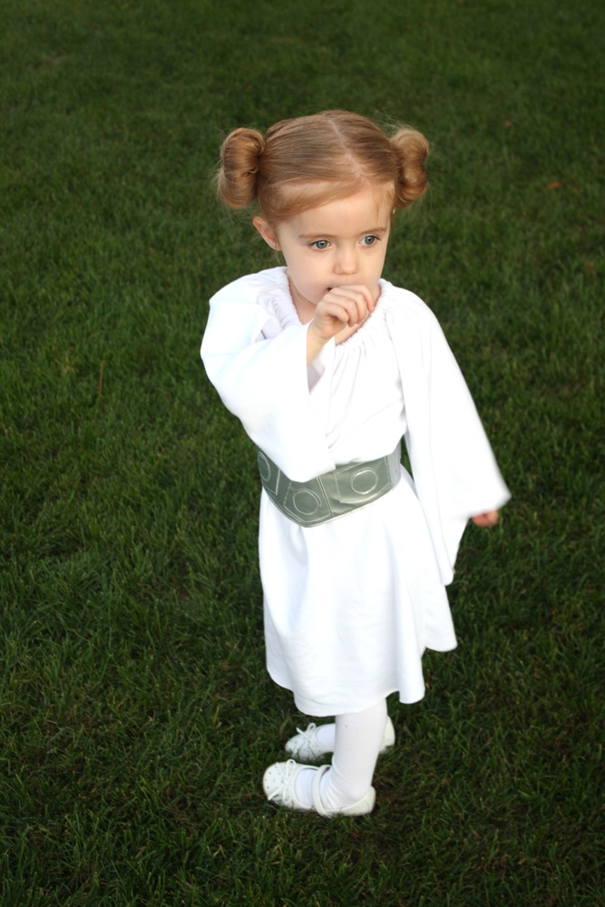 Her dress is simply a peasant dress made of white knit. I used this pattern and lengthened the sleeves then cut the end off at an angle after she tried it ...  sc 1 st  Craftiness Is Not Optional & Princess Leia costume+belt tutorial
