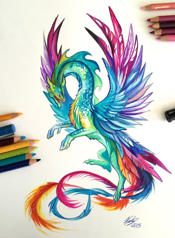 13-Hummingbird-Dragon-Katy-Lipscomb-Lucky978-Fantasy-Watercolor-Paintings-Colored-Pencils-Drawings-www-designstack-co