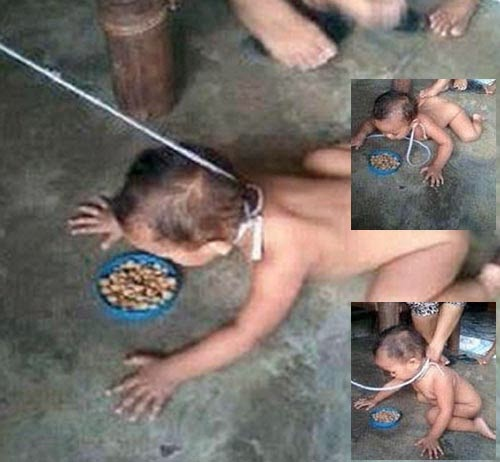 child on dog leash in the philippines