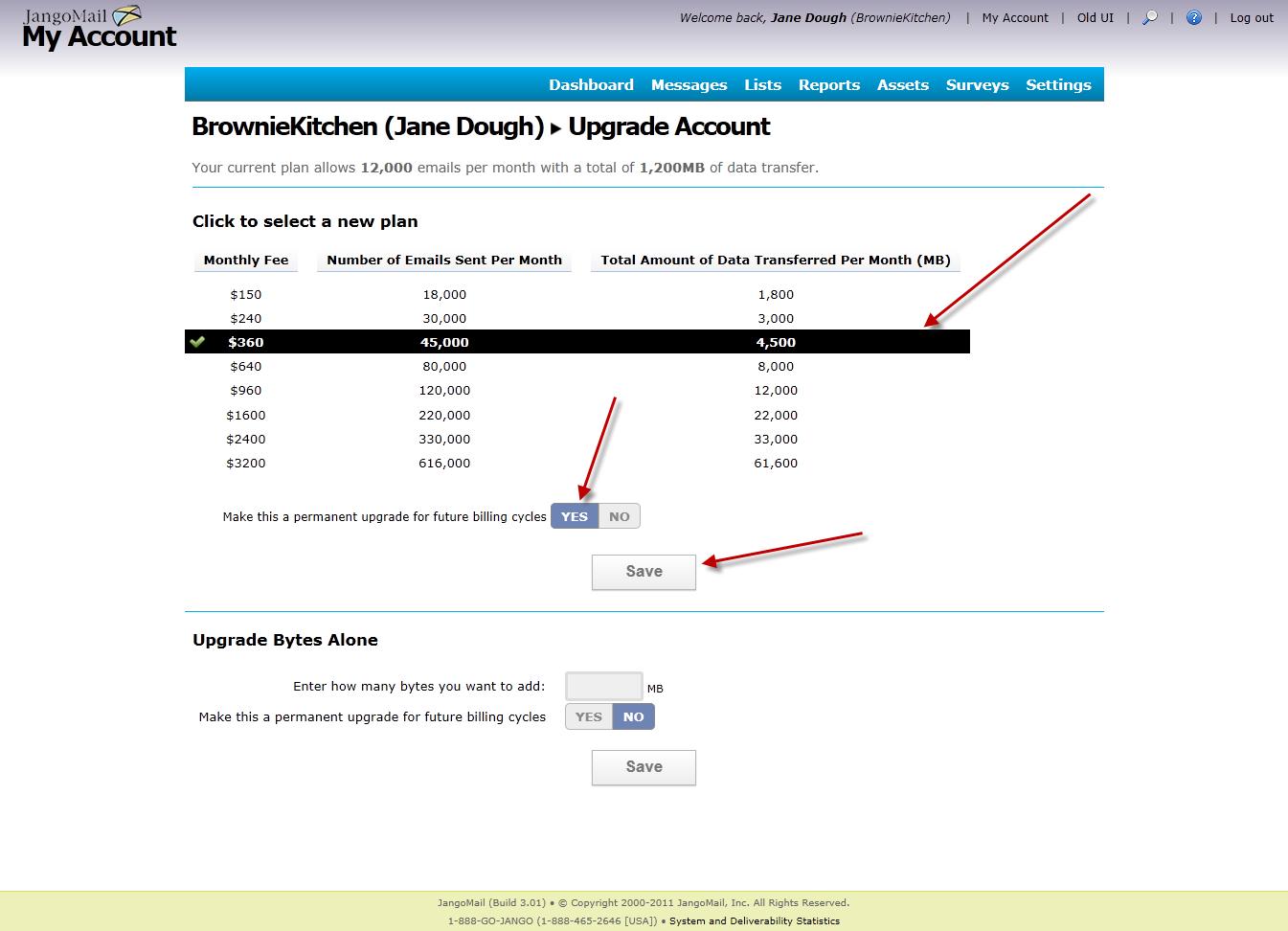 easier account upgrades jangomail