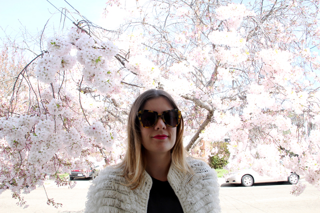 cherry blossom shaggy sweater