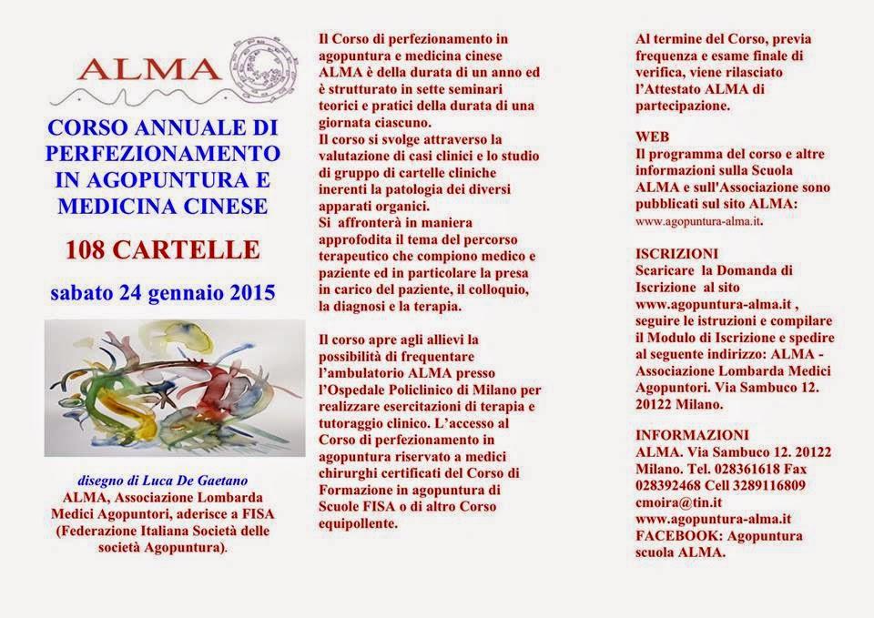 EVENTI: GENNAIO CORSO ALMA DI PERFEZIONAMENTO IN AGOPUNTURA E MEDICINA CINESE