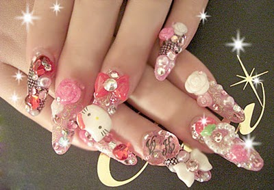 nail art japonesa 3d hello kitty cute