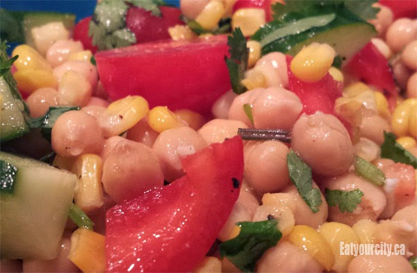 Eat Your City: Grilled corn, chickpea and avocado salad with honey