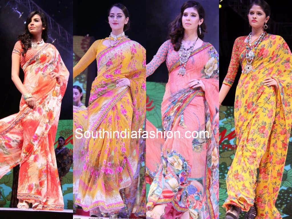 floral print chiffon sarees