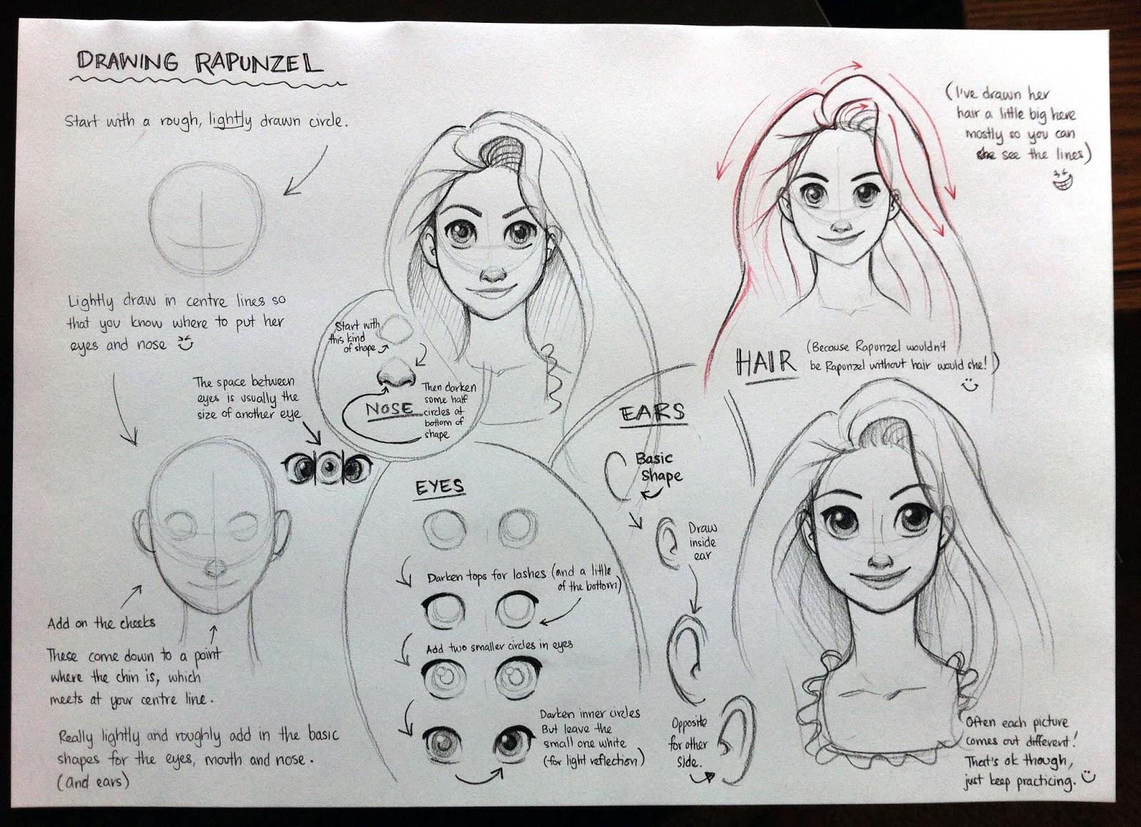 how to draw rapunzel with braid