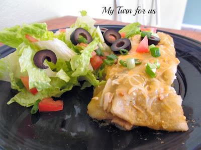 skinny green chili chicken enchiladas