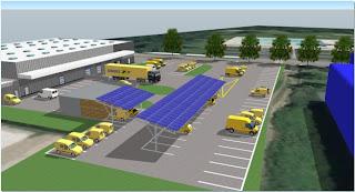 Des véhicules à l'hydrogène alimenté par panneaux solaires sur 2 sites de La Poste en Franche-Comté.