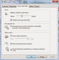 Opcje ustawień wskaźnika myszy - okno Panel sterowania Windows