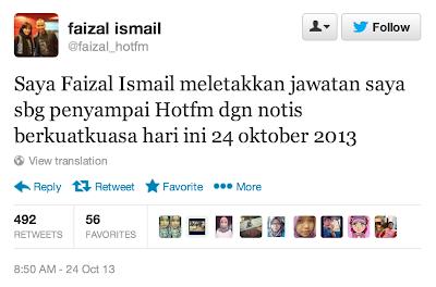 Faizal Ismail Letak Jawatan Deejay Hot FM