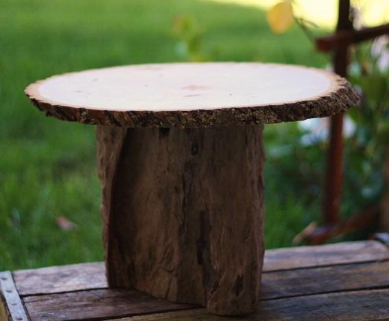 Lavender Belles Tree Stump Slice Cake Stand