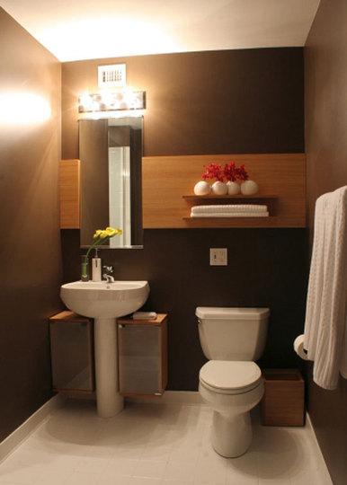Ideas Para Decorar Baños Ceramica: blanco, hace que este baño tenga estilo de moderno de su colorido