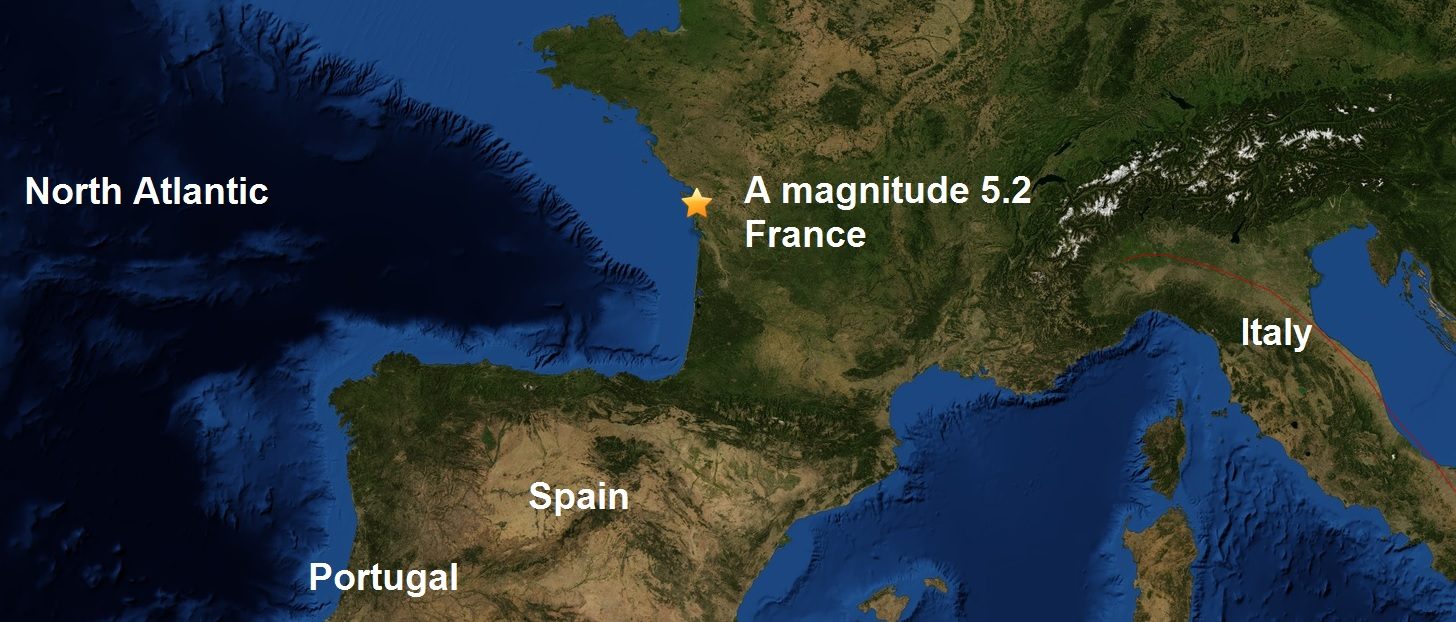 A M5.2 is the strongest quake to hit France since April 1914