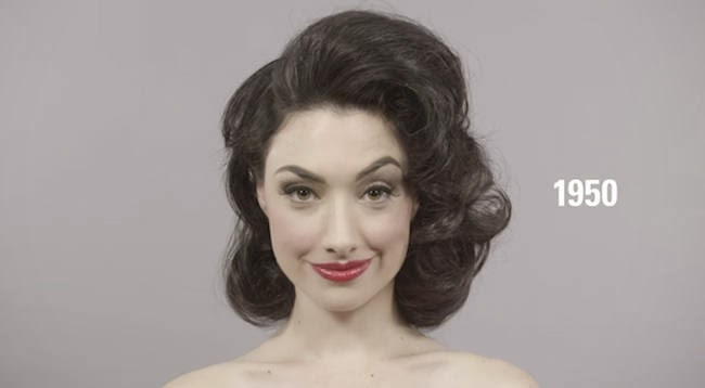 The sultry 1950s. - A Video Breaks Down 100 Years Of Beauty Trends In One Minute