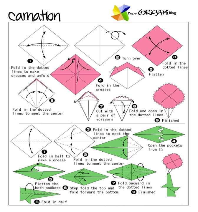 Paper origami carnation paper origami guide paper origami carnation mightylinksfo