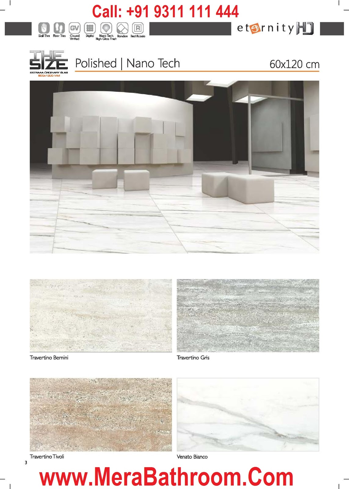 Kajaria Eternity Digital Glazed Vitrified Tile 60x120 Cm