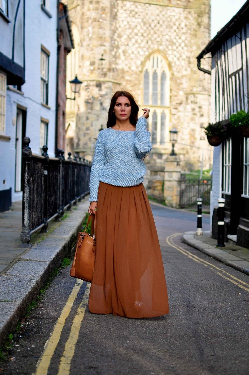 Simona Mar Knit And Sheer Maxi Skirt Tan Blue