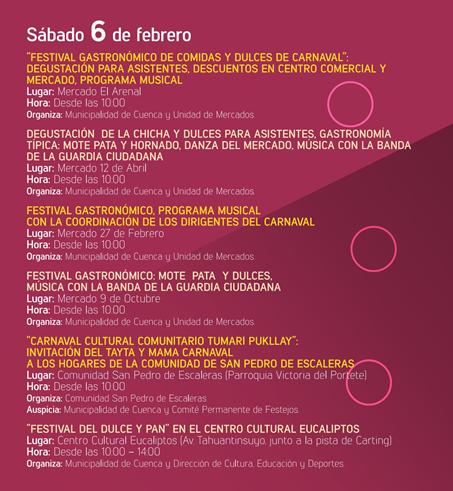 Programa completo fiestas Carnaval en Cuenca 2016
