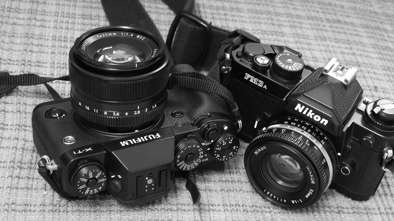 Fotografia della Fuji X-T1 e della Nikon FM3a