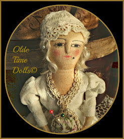 Cloth Queen Anne on Wooden Spool