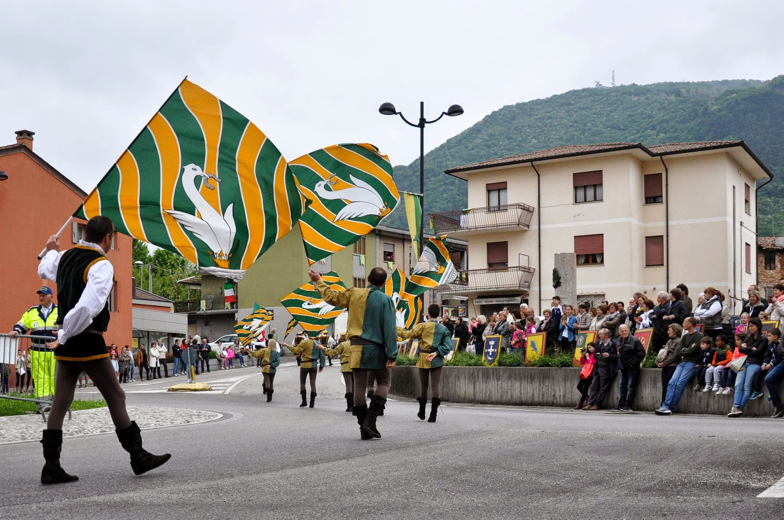 Flag throwers at the Parade, Donkey Race, Romano d'Ezzelino, Veneto, Italy-3