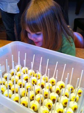 a party style sunflower cake pops. Black Bedroom Furniture Sets. Home Design Ideas