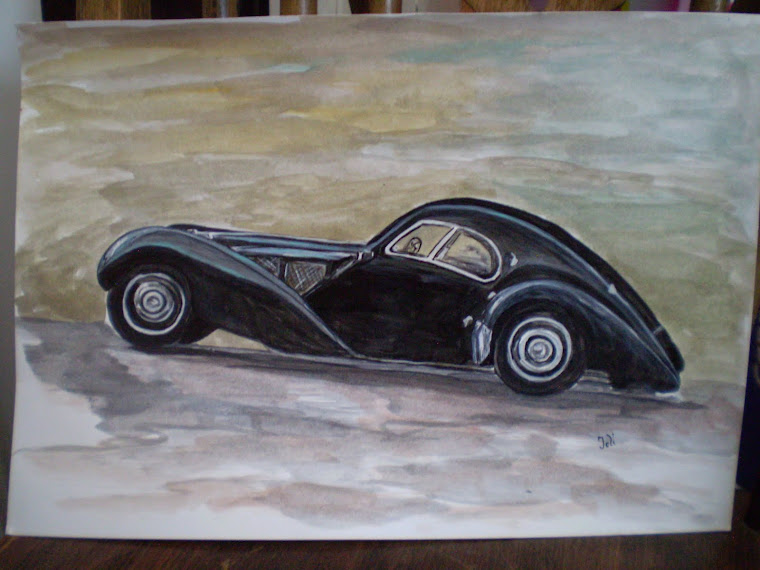 Bugatti 57SC Atlantic pct3 , watercolor, signed Joli, A4