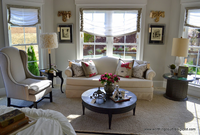 bedroom sitting area, faux roman shades via Worthing Court blog