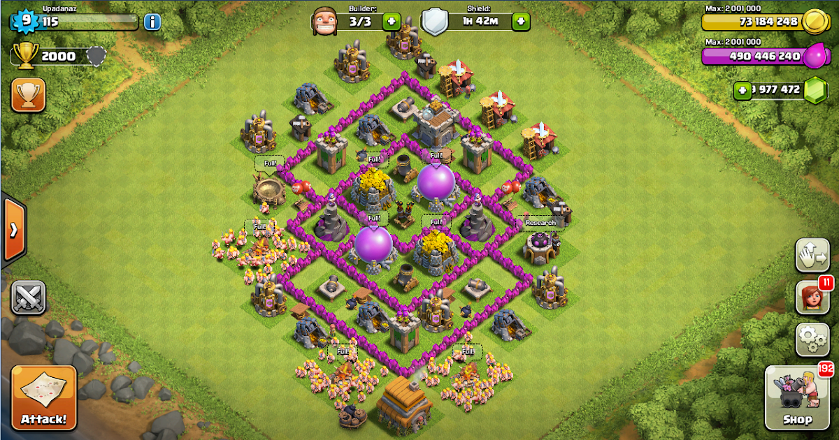 Clash of clans town hall level 8 war layout