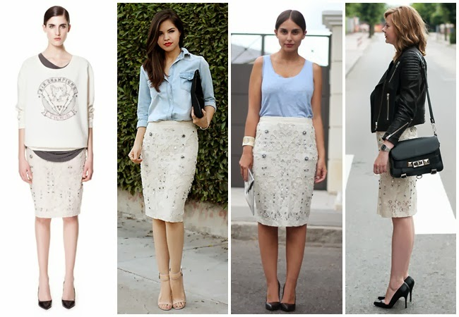 Zara SKIRT WITH LACE AND EMBROIDERY