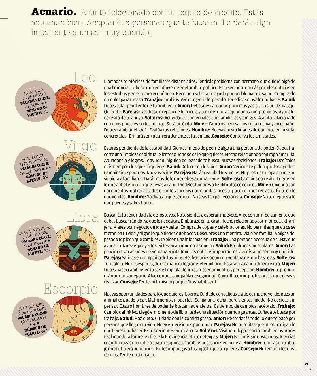 ... , Libra, escorpio del 16 al 22 de febrero de 2014 Adriana Azzi Sedes