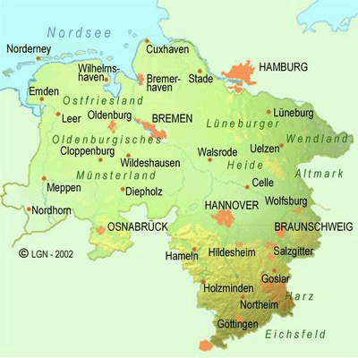 Mapa de Baja Sajonia Imagen