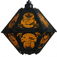 Vintage-style orange lantern by Bindlegrim for Sale July 2013 features the poetic verse and imagery of The Cornish Litany
