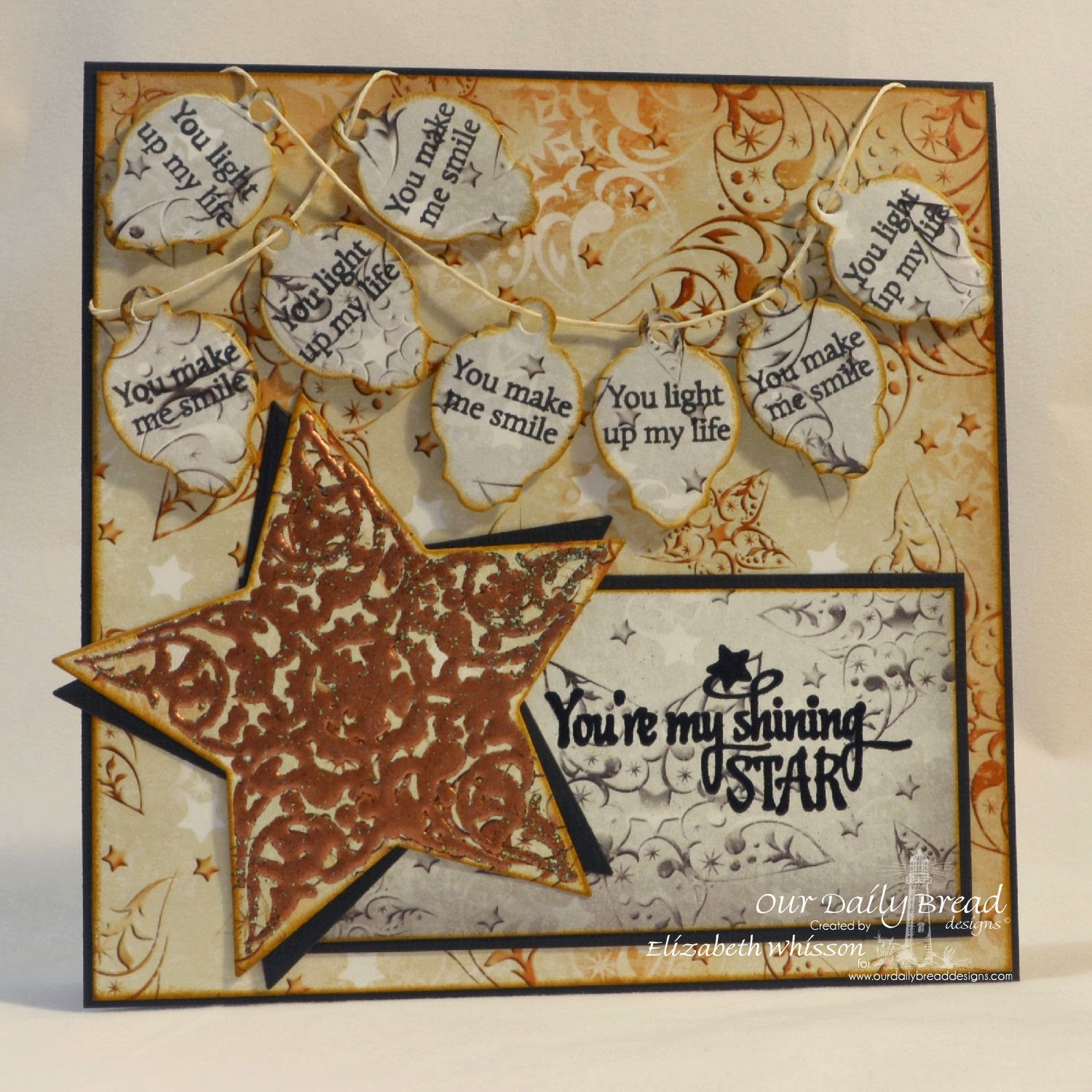 Elizabeth Whisson, Our Daily Bread Designs, You're my shining star, Shine On, embossing, Mini Tags Dies, Mini Tag Sentiments, Winter Collection, Sparkling Stars Dies, aged copper, frantage, handmade card