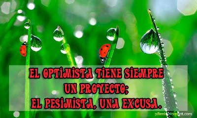 El optimista • Frase de motivación • Tarjeta para facebook