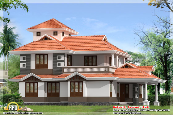 2310 square feet, 4 bedroom Kerala style home design